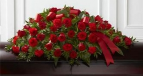 Red Rose & Carnation Blend Casket Spray in Fredericton, NB | GROWER DIRECT FLOWERS LTD