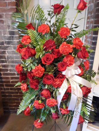 Red Rose & Carnation Sympathy Spray Standing Dpray Sympathy