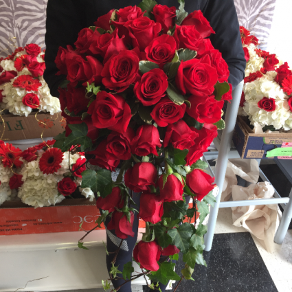 Red Roses Wedding Bouquets.Red Rose Cascading Bouquet Bridal Bouquet In Darien Ct Darien Flowers