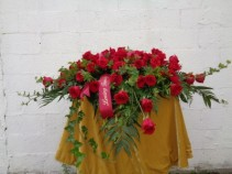 RED ROSE CASKET FLOWERS