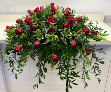 Red Rose Casket Spray Fresh Spray