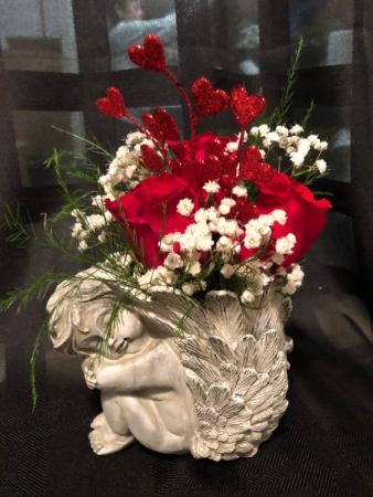 Red Rose Cherub Valentine's Day