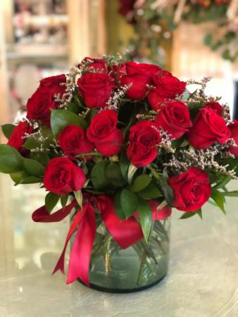 Red Rose Cluster Glass Cylinder Vase