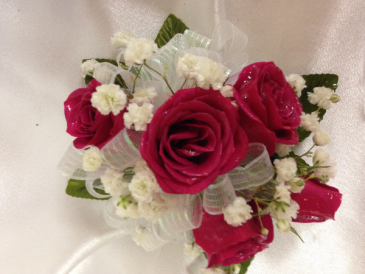 red rose corsage wrist corsage