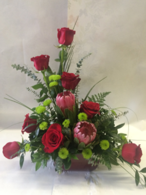 Red Rose Elegance Flower Arrangement in Red Lake, ON | FOREVER GREEN GIFT BOUTIQUE