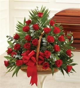 Red Rose Fireside Basket Funeral - Sympathy