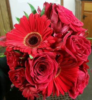 Red Rose & Gerbera Daisy Handtied Bouquet in Plum, PA | FOREVER GREENE FLOWERS INC.