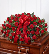 Red Rose Half Casket Cover casket
