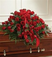 Red Rose Half Casket Cover Funeral