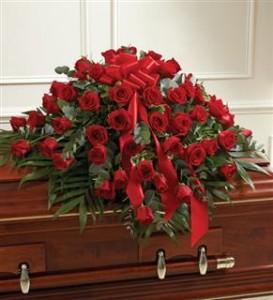 Red Rose Half Casket Cover Funeral in Crestview, FL | The Flower Basket Florist