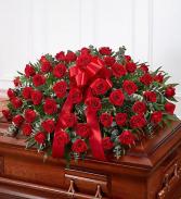 Red Rose Half Casket Cover sympathy arrangements