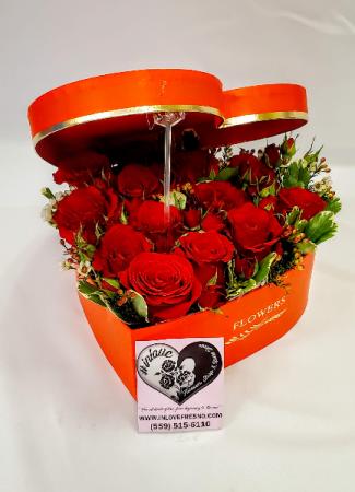 Red Rose Heart Box Valentine