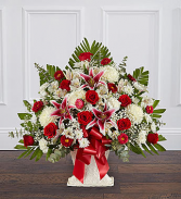 RED ROSE & LILY FLOOR BASKET