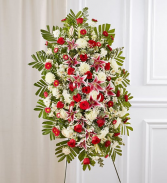 Red Rose & Lily Sympathy Standing Spray Sympathy