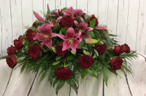 Red Rose & Lily Tribute Casket Spray