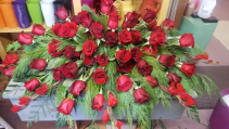 Red Rose Memories Casket Spray
