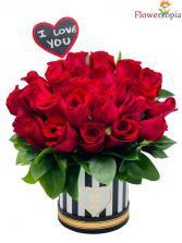 Red-Rose-Message Red Rose Arrangement