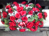 RED ROSE & MIXED FLOWER GRAVE SADDLE