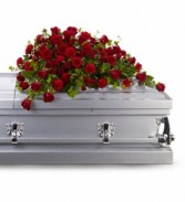 Red Rose Reverence Casket Cover  T225-3A
