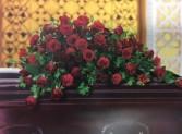 Red Rose Reverence  Casket Flowers