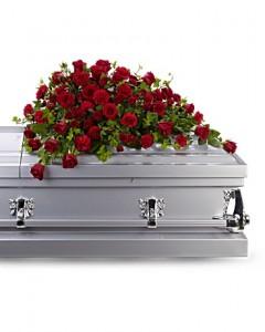 Red Rose Reverence Casket Spray Sympathy Arrangement