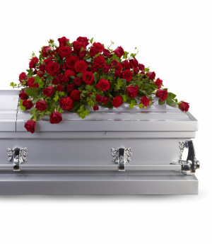 Red Rose Reverence Casket Spray T225-3A in Hesperia, CA | ACACIA'S COUNTRY FLORIST