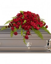 Red Rose Sanctuary Casket Spray Sympathy Arrangement
