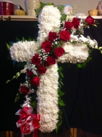 Red rose standing cross  Funeral flowers
