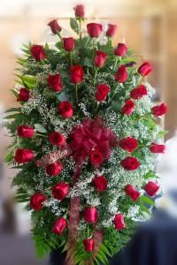 Red Rose Standing Spray  in Vincennes, IN | ORGAN FLORIST & GREENHOUSES