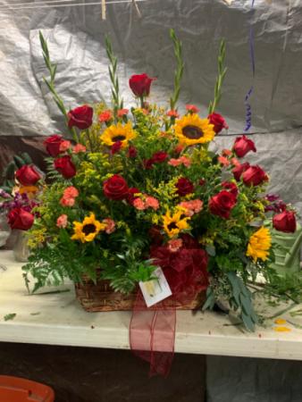 Red rose sunflower arrangement  Sympathy