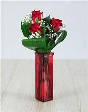 Red Rose Trio Vase Arrangement in Sunrise, FL | FLORIST24HRS.COM