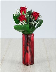 Red Rose Trio Vase Arrangement