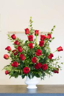 Red Rose Urn