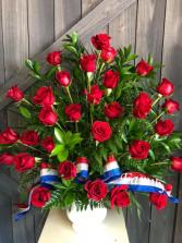 Red Rose Urn Sympathy