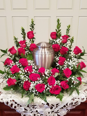 Red Rose Urn Wreath