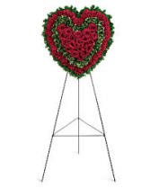 RED ROSE VIBRANT SOLID HEART 6' STANDING SPRAY ON STAND