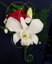 Red rose & White Orchid Boutonniere