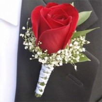 Red Rose with Babies Breath Boutonniere
