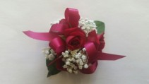 Red Rose with baby breath Corsage