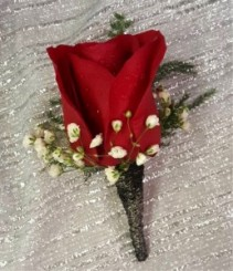 Red Rose with Black wire Boutonniere