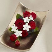 Red Rose with Rhinestone Stephanotis Wristlet Corsage