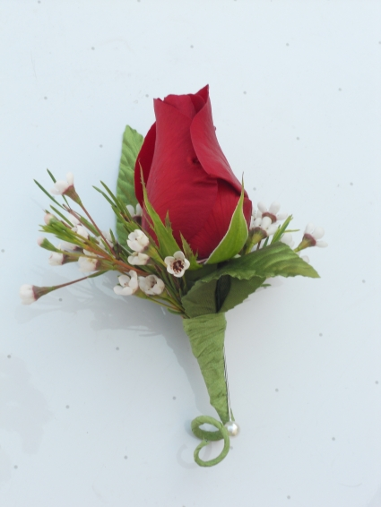 Red Rose with Wax Flower