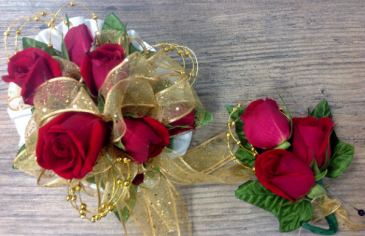 Red Rose Wrist Corsage & Boutonniere