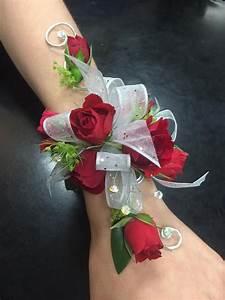 Red rose wristlet Prom or wedding