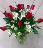 Red roses and alstromeria. Fresh floral