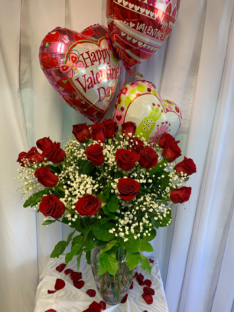 Red Roses and Balloons  Red Classic Roses