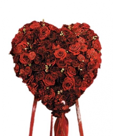 Red Roses and Carnations Heart Funeral
