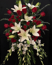 Red roses and lilies Standing easel