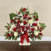 Red Roses and Lily Basket