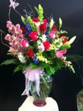 Red Roses and Orchids Bouquet - Bright